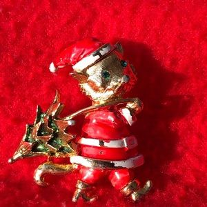 Vintage Christmas mouse brooch.